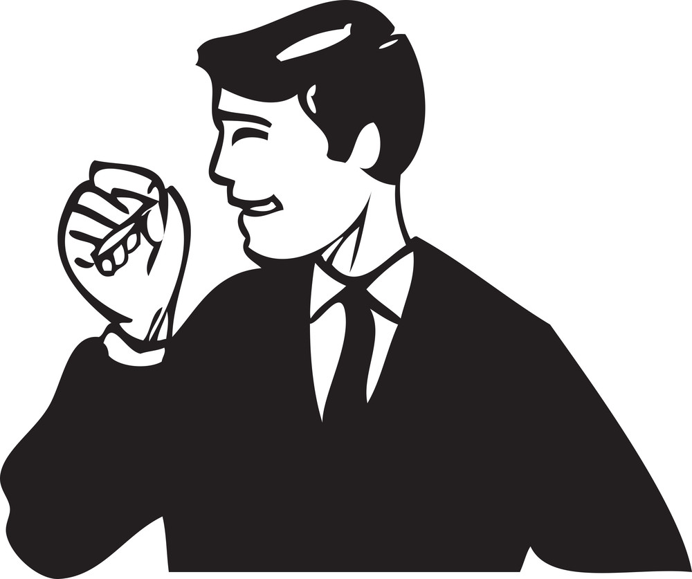 Illustration Of A Man Holding A Cigarette.