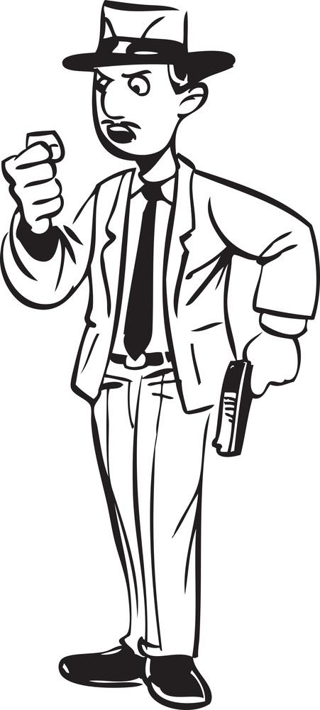 Illustration Of A Man Holding A Gun.