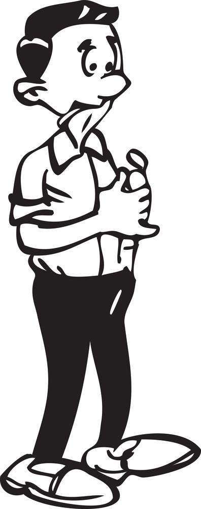 Illustration Of A Man Holding A Lighter.