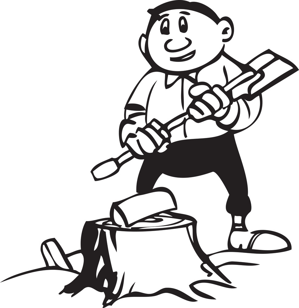 Illustration Of A Man Holding An Axe.