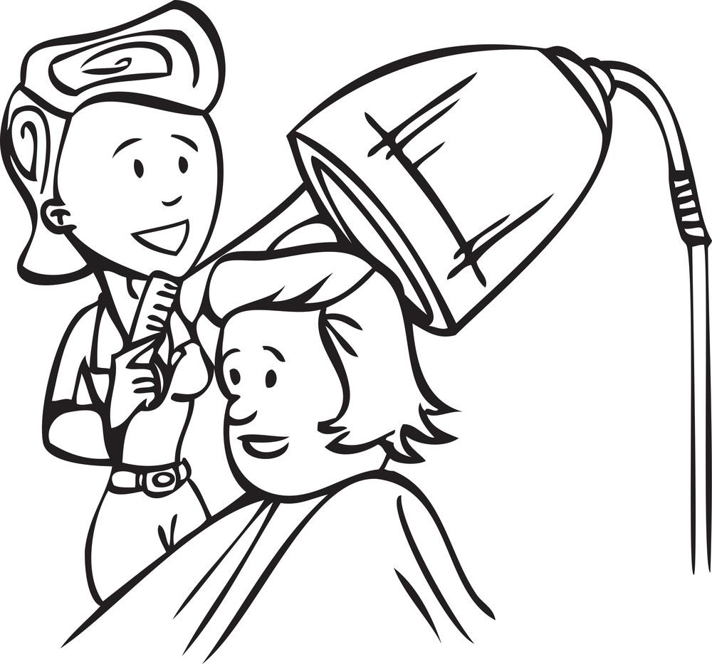 Illustration Of A Man In Barber Shop.