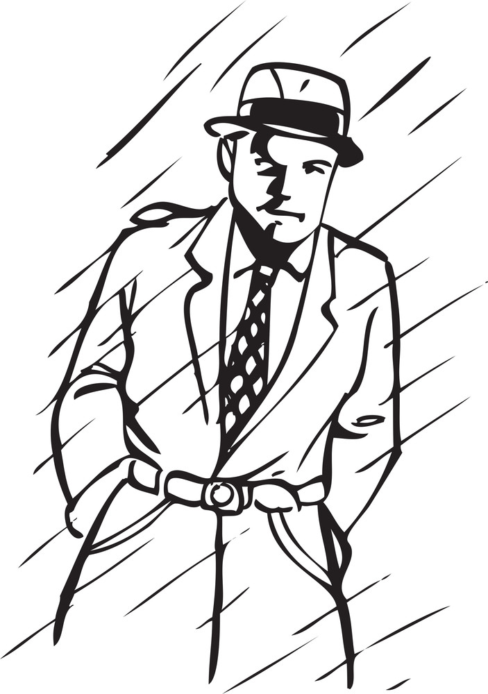 Illustration Of A Man In Rain.