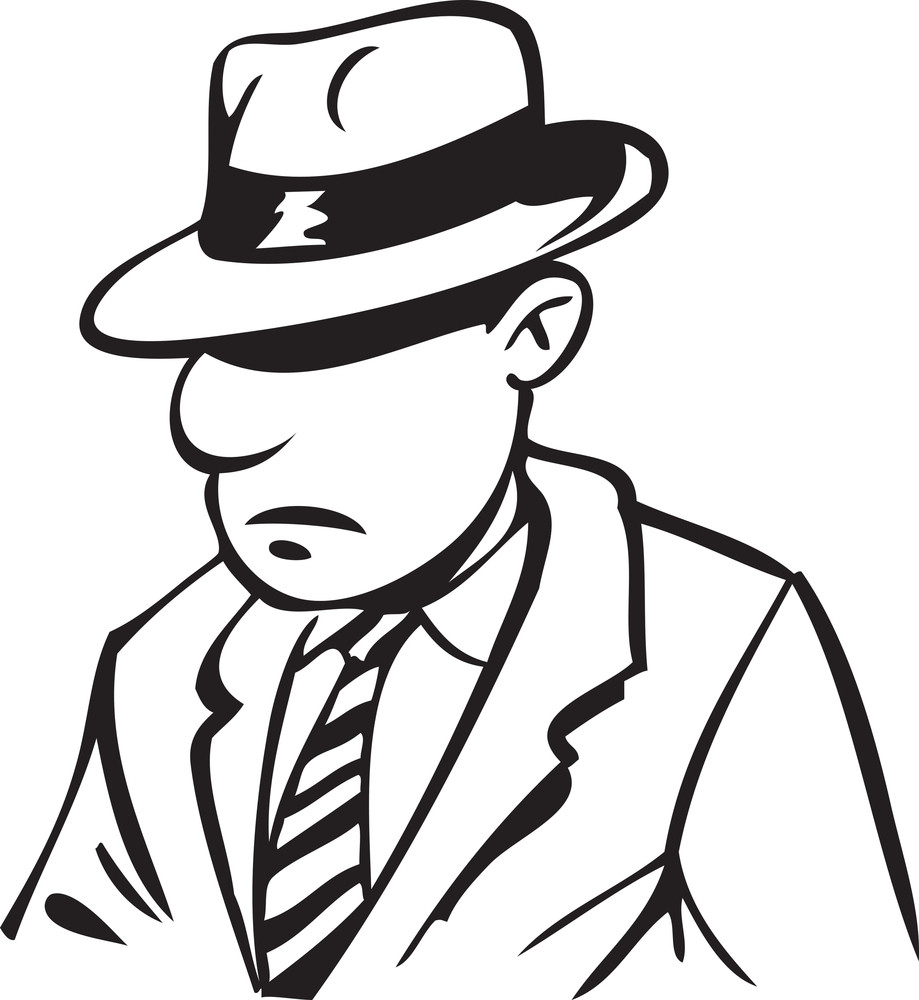 Illustration Of A Man In Suit And Hat.