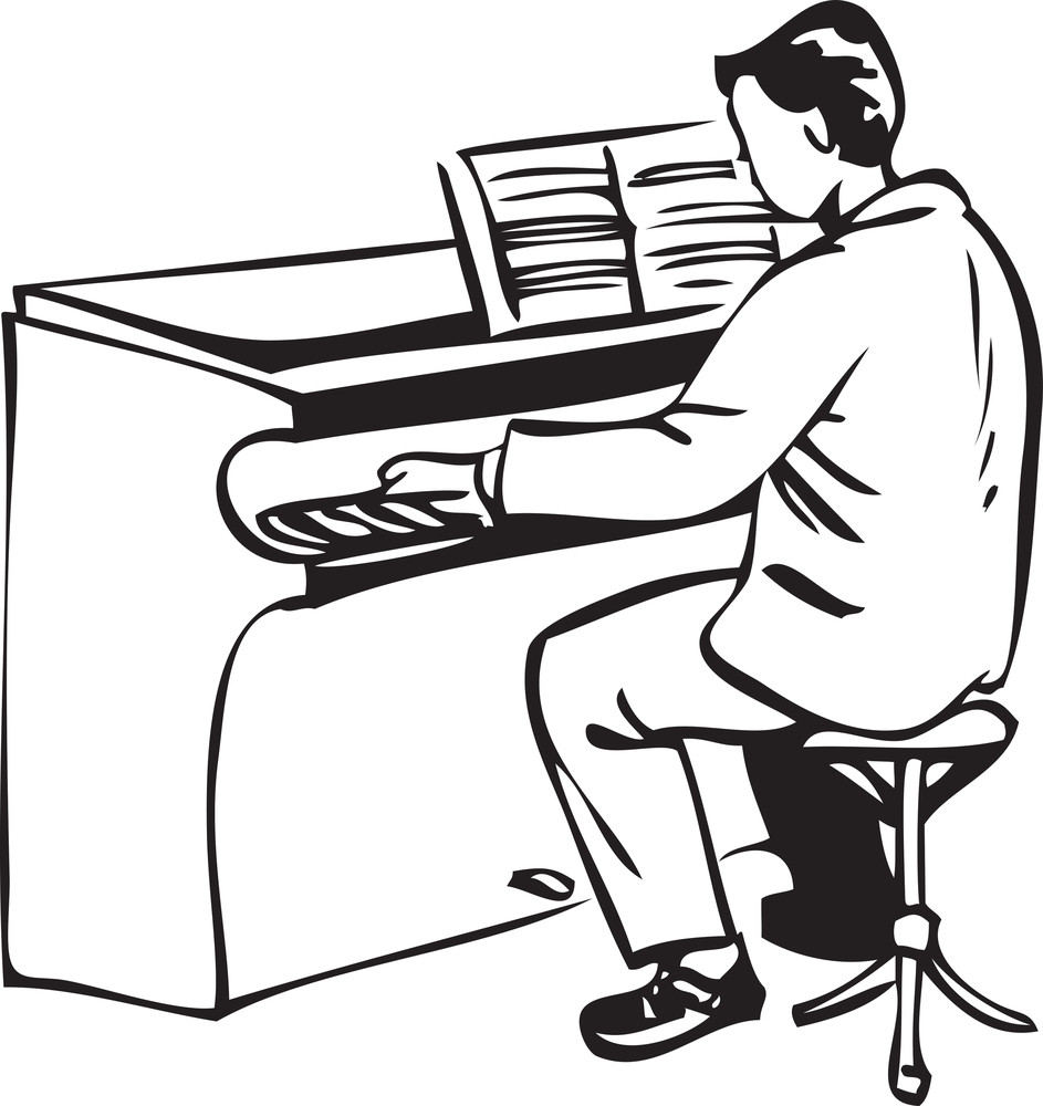 Illustration Of A Man Playing Piano.