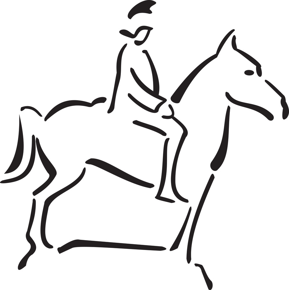 Illustration Of A Man Riding Horse.