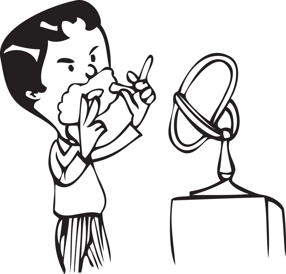 Illustration Of A Man Shaving.