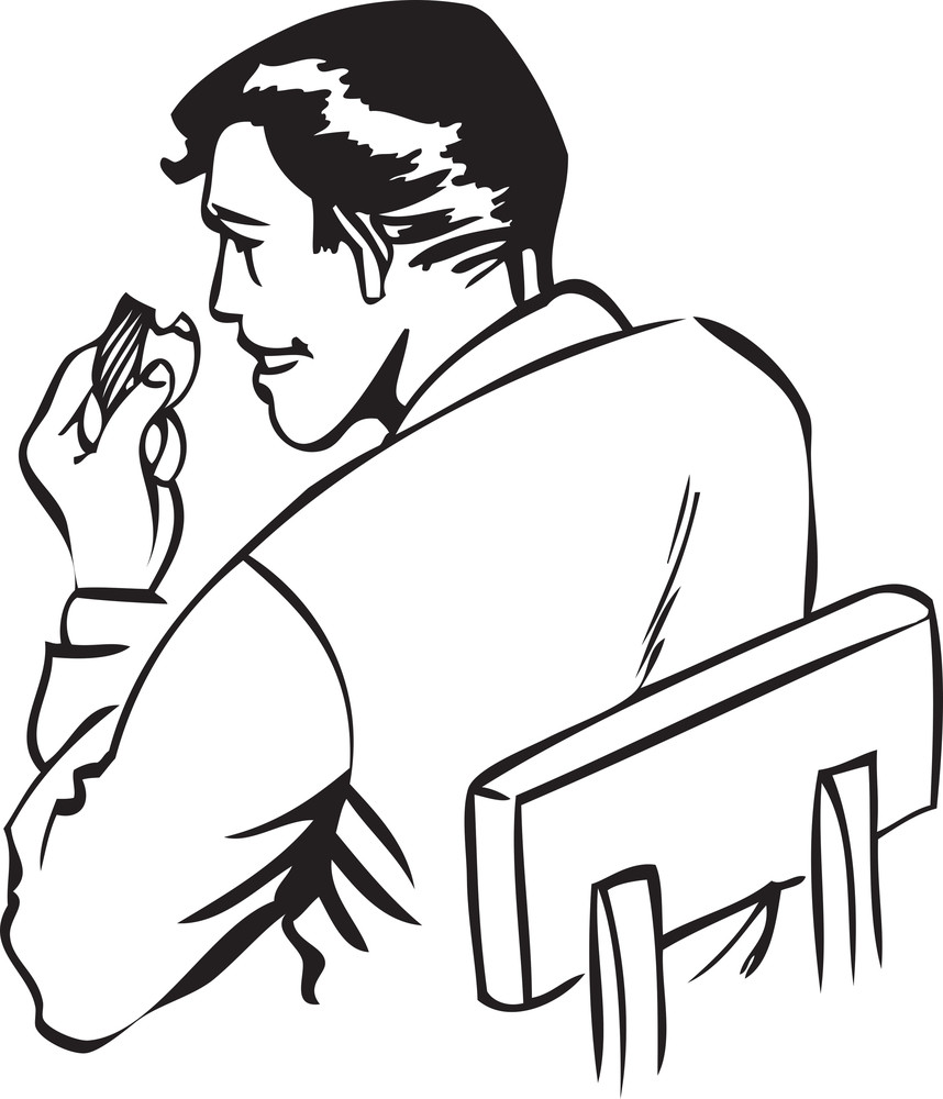 Illustration Of A Man Sitting And Eating.