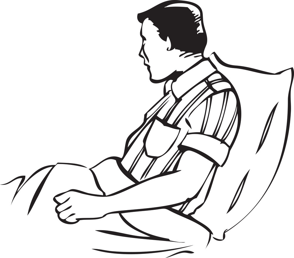 Illustration Of A Man Sitting On Bed.