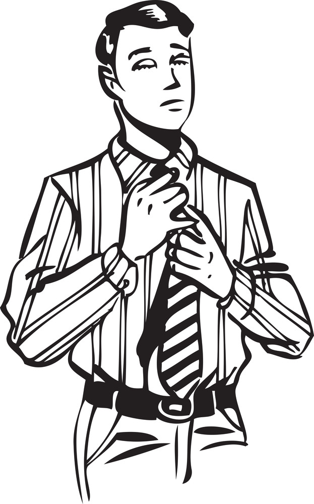 Illustration Of A Man Touching His Tie.