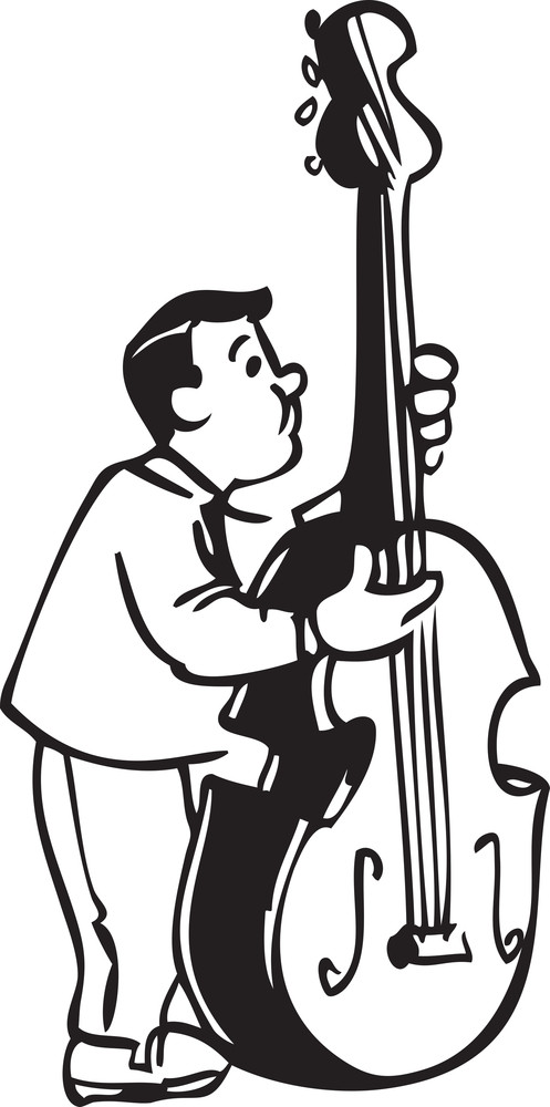 Illustration Of A Man With Big Guitar.