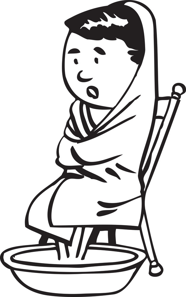 Illustration Of A Man With Blanket And Water Tub.
