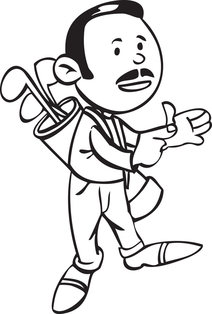 Illustration Of A Man With Boffer Arrow Bag.