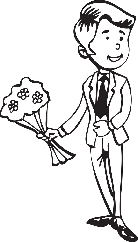 Illustration Of A Man With Bouquet.