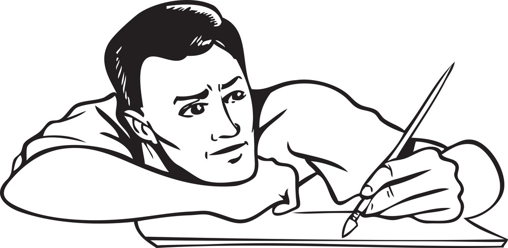 Illustration Of A Man With Brush And Paper.