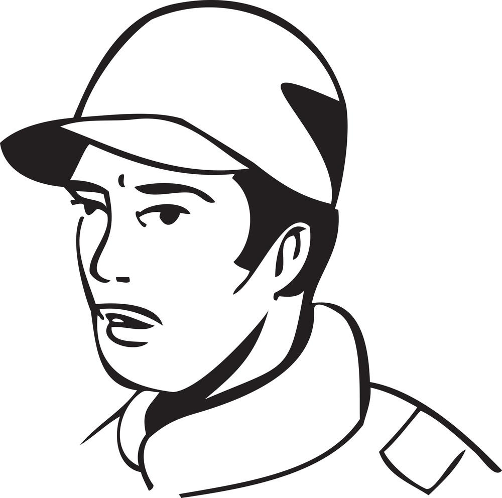 Illustration Of A Man With Cap.