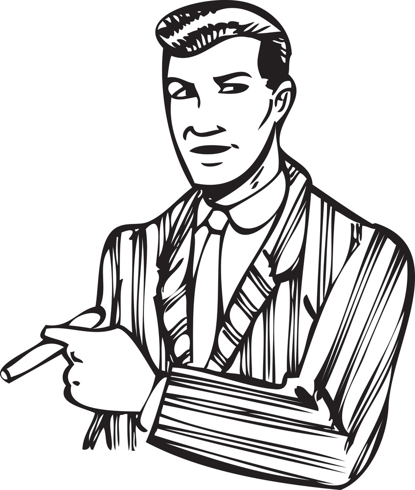Illustration Of A Man With Cigar.
