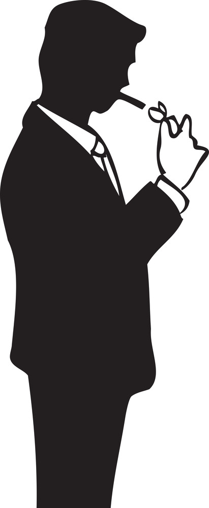 Illustration Of A Man With Cigarette And Lighter.