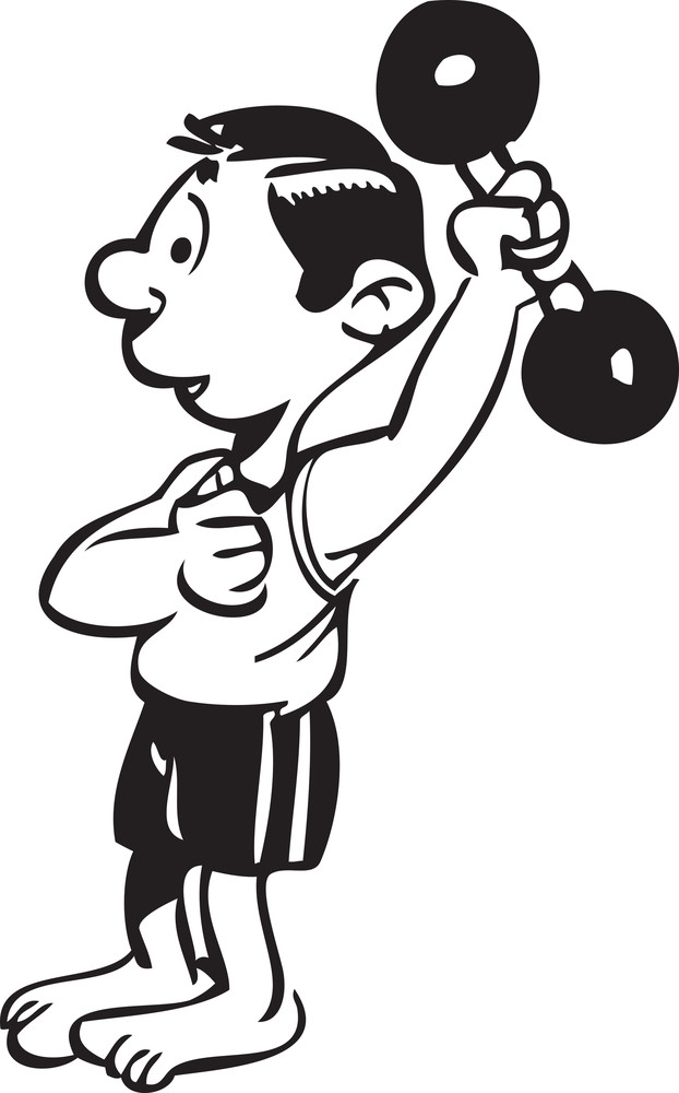 Illustration Of A Man With Dumbbell.