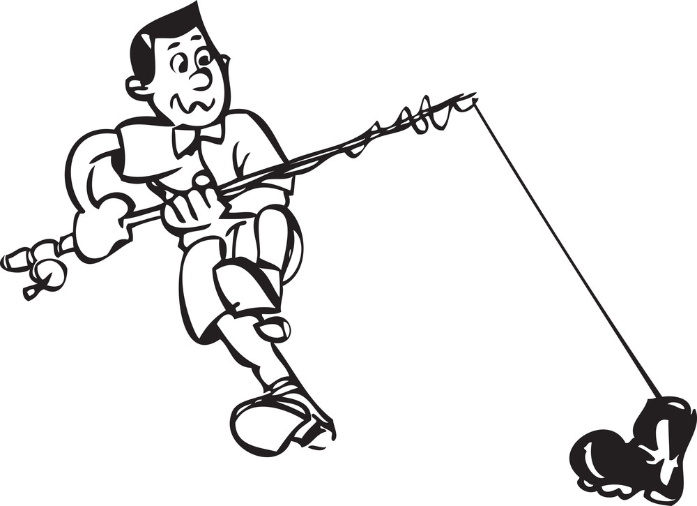 Illustration Of A Man With Fishing Pole.