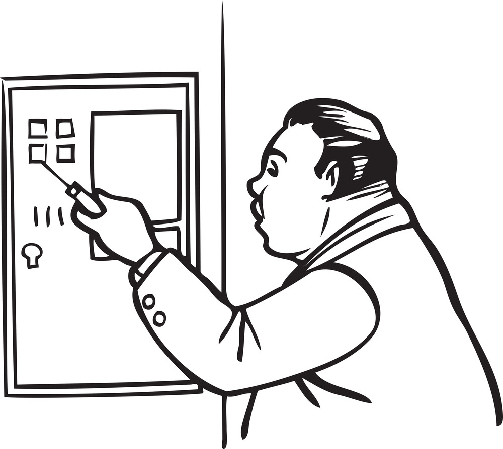 Illustration Of A Man With Locker.