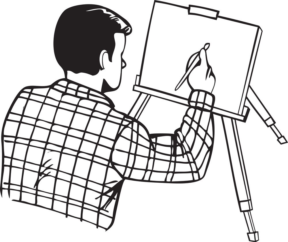 Illustration Of A Man With Paint Brush And Painting.