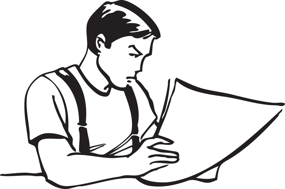 Illustration Of A Man With Paper.