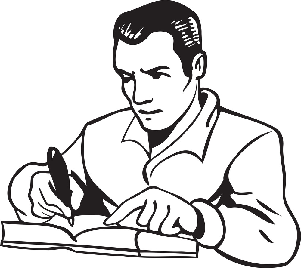 Illustration Of A Man With Penand Book.