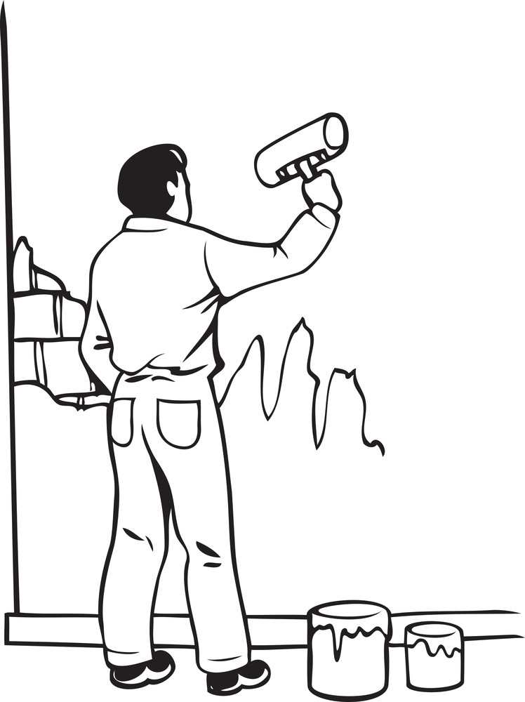 Illustration Of A Man With Roller Brush And Bucket.
