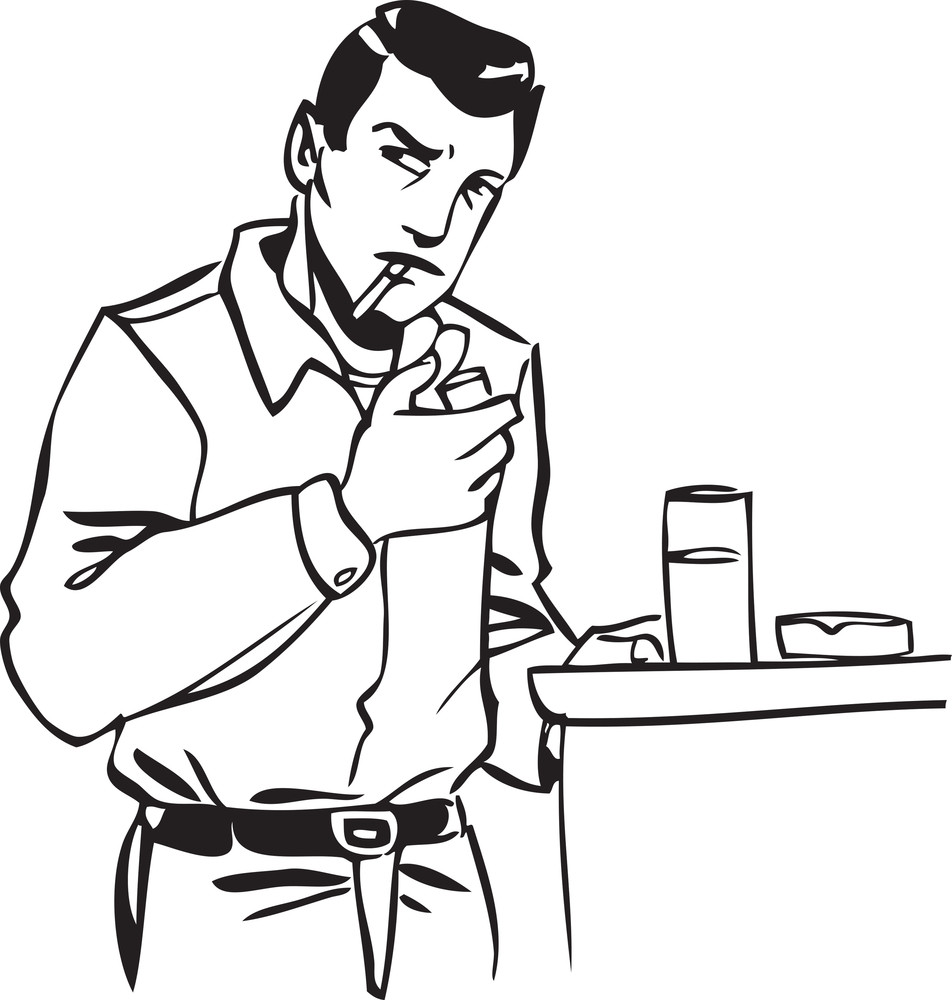 Illustration Of A Man With Tray