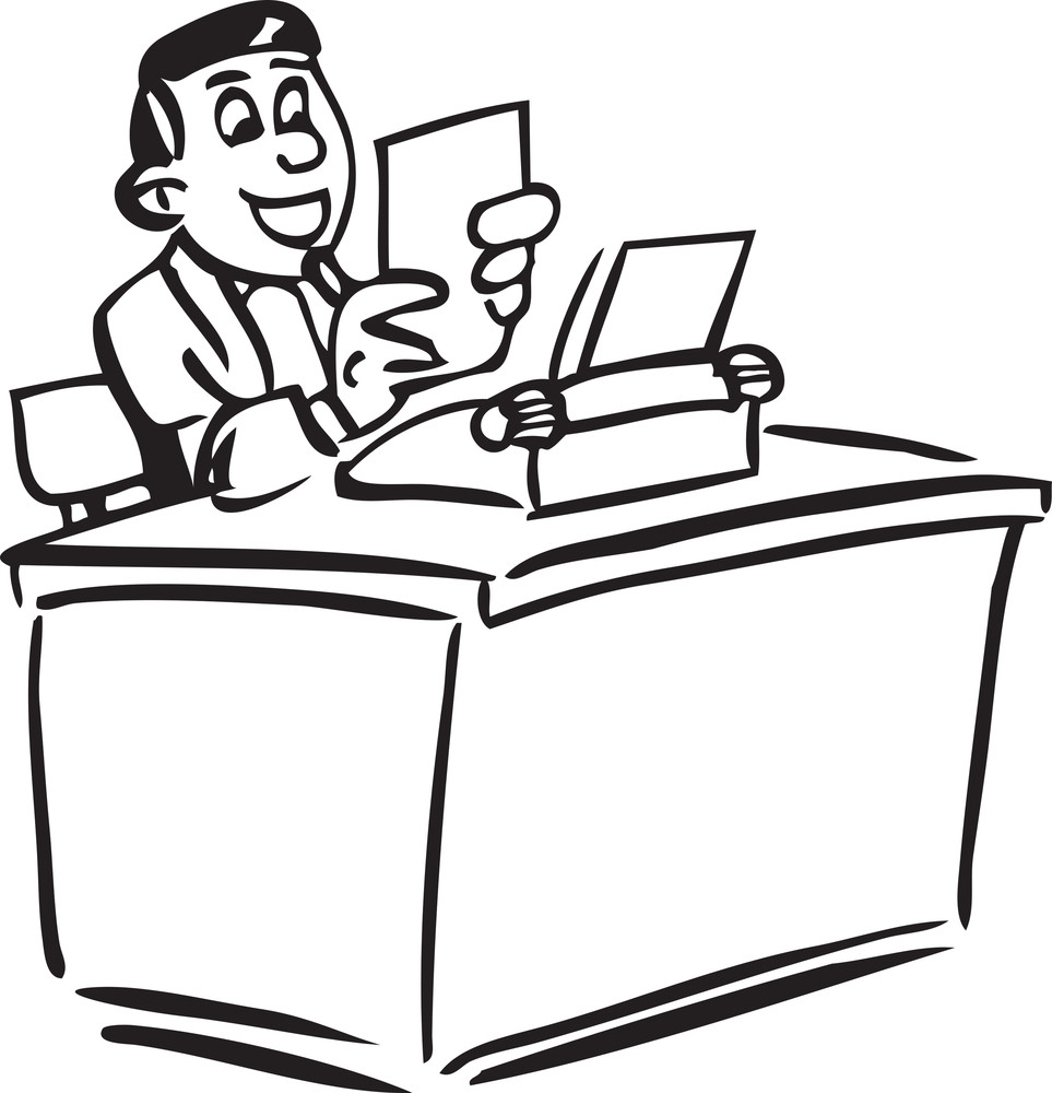Illustration Of A Man With Typewriter And A Paper.
