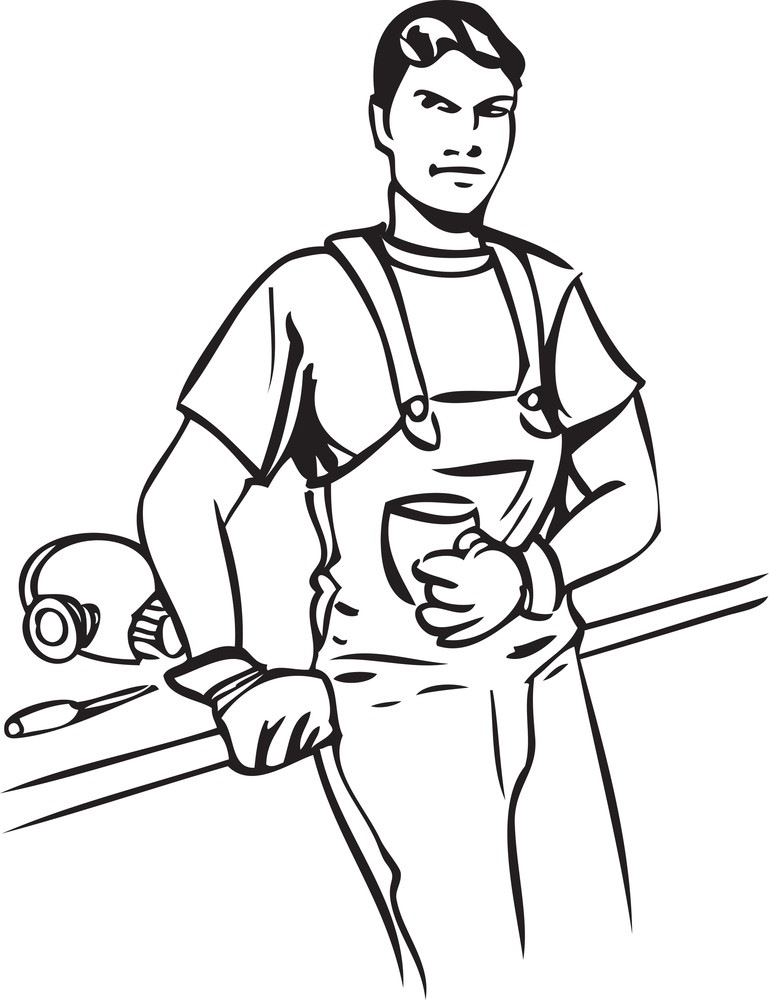 Illustration Of A Mechanic Boy With Cup And Equipment.