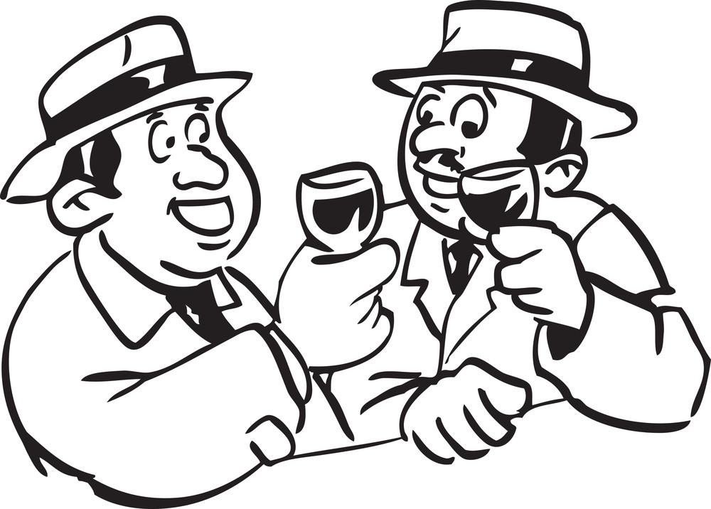 Illustration Of A Men Drinking Alcohol.