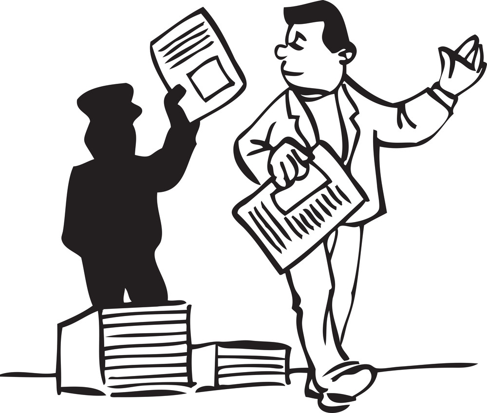 Illustration Of A Men With Newspaper.