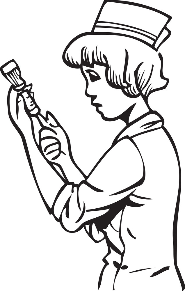 Illustration Of A Nurse With Her Equipment.