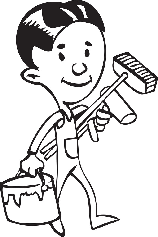 Illustration Of A Painter With Brushes And Bucket.
