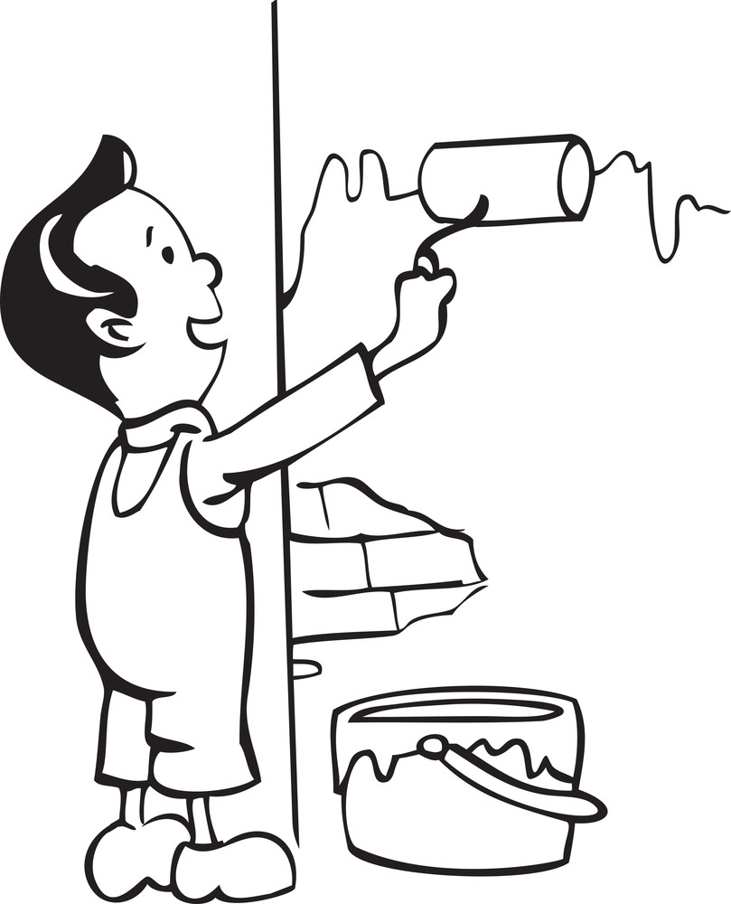 Illustration Of A Painter With Paint Roller And Bucket.
