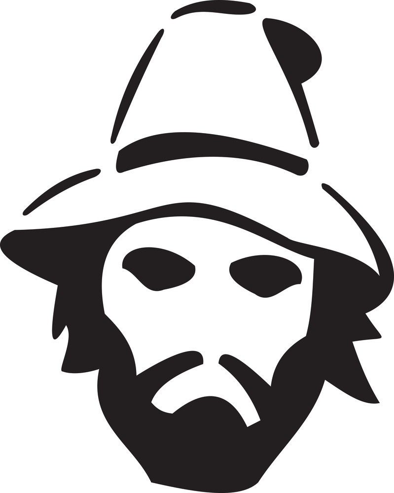 Illustration Of A Pirate's Face With Beard.