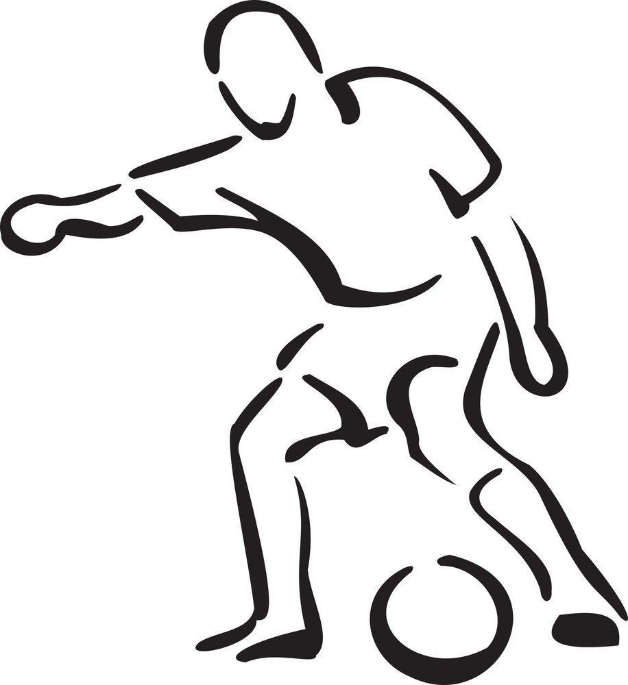 Illustration Of A Player With Ball.
