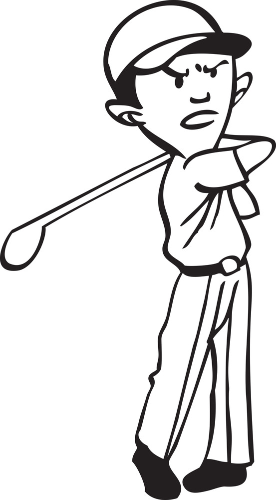 Illustration Of A Player With Hockey Stick.