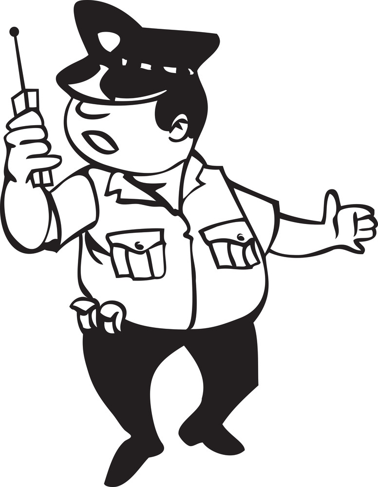 Illustration Of A Police With Baofeng.