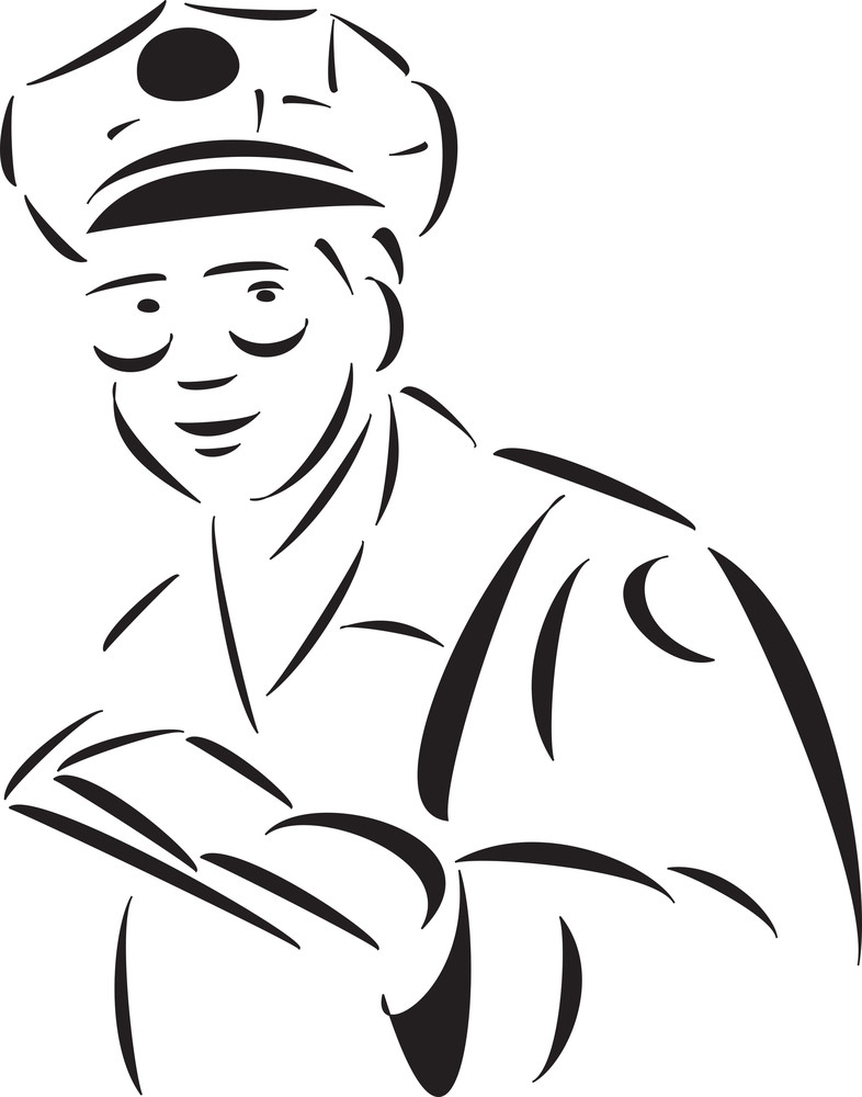 Illustration Of A Postman With Letters.