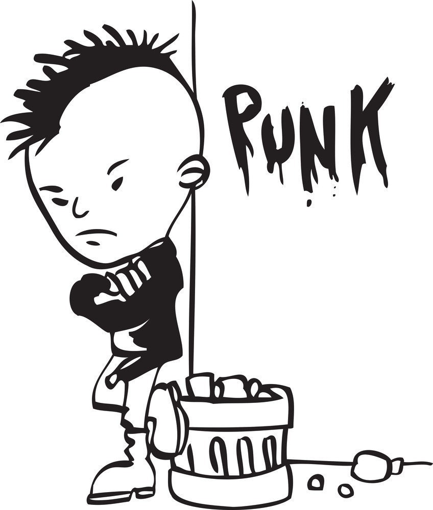 Illustration Of A Punk Man.