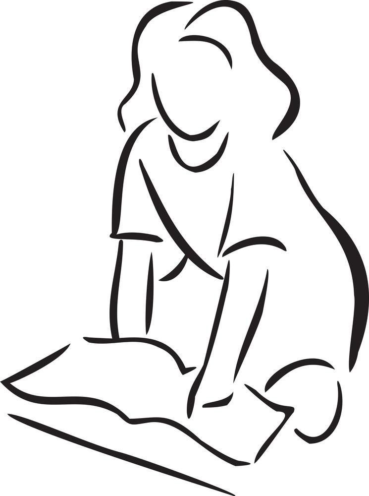 Illustration Of A Reading Girl.
