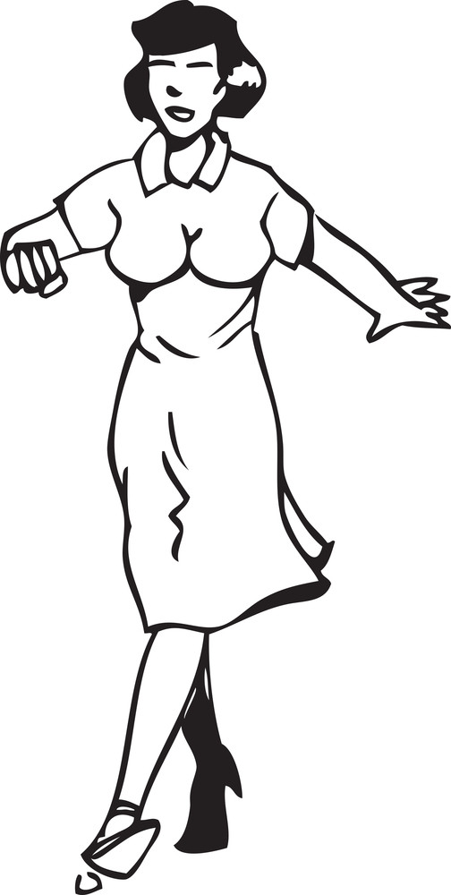 Illustration Of A Retro Dancing Girl.