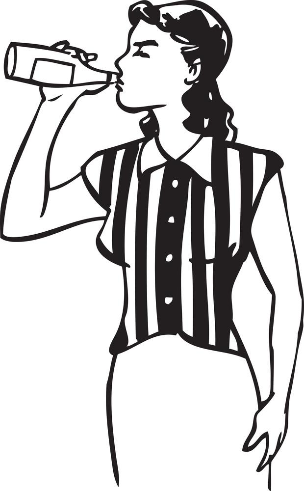 Illustration Of A Retro Lady Drinking.