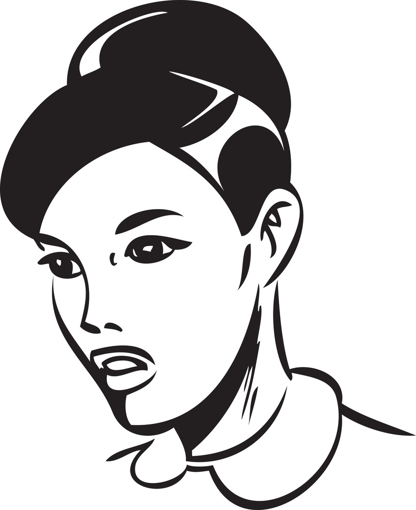 Illustration Of A Retro Lady Girl Face.
