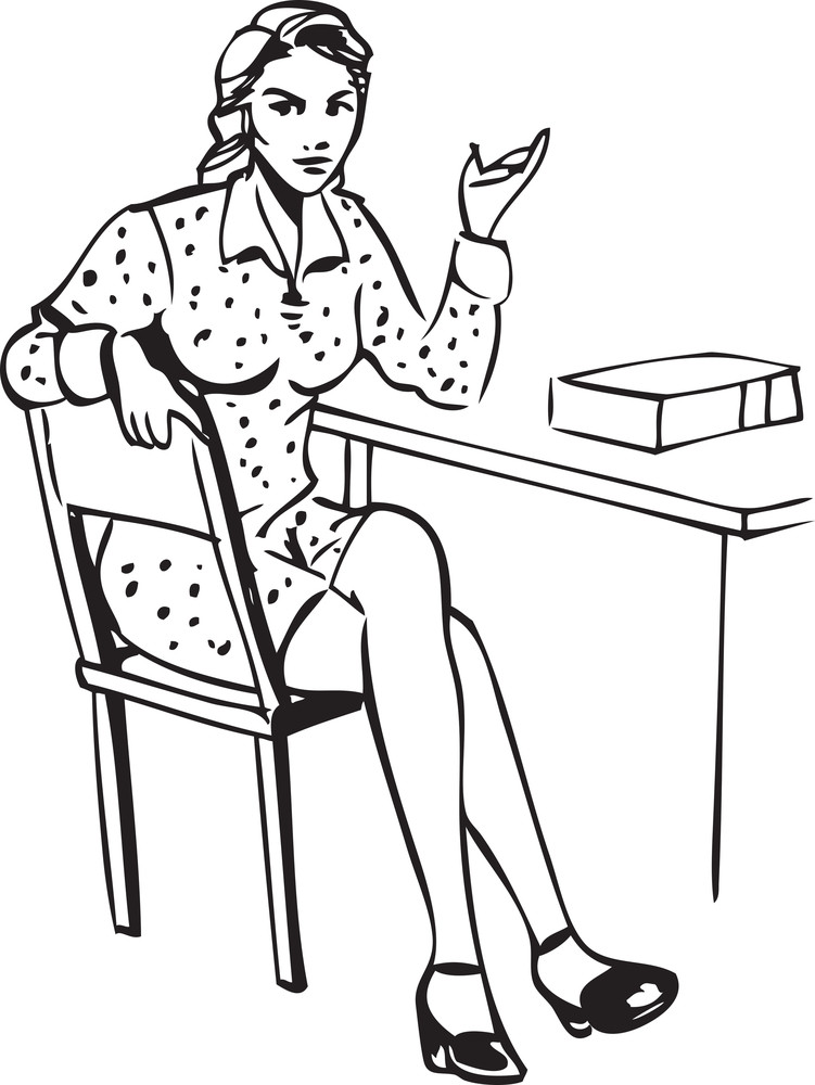 Illustration Of A Retro Lady Sitting On Chair.