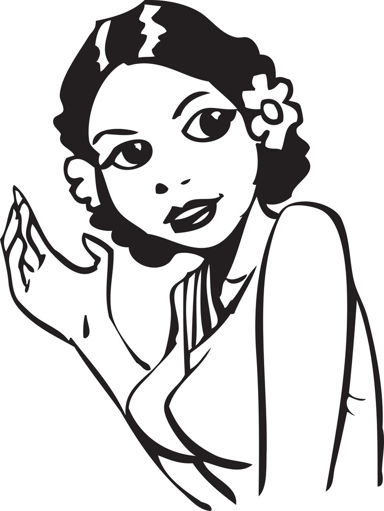 Illustration Of A Retro Lady Waving Hand.