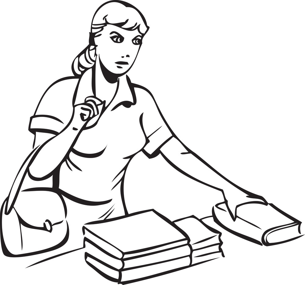 Illustration Of A Retro Lady With Books.