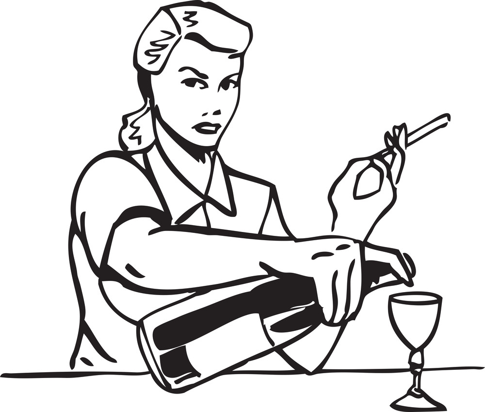 Illustration Of A Retro Lady With Cigarette And Alcohol.